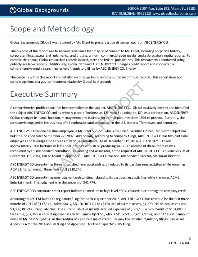 Operational Due Diligence Report Example And Example Executive Summary Due Diligence Report