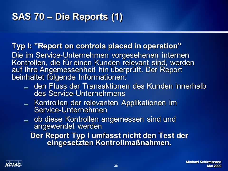 SAS 70 Audit Report Example And SAS 70 Vs Soc 1