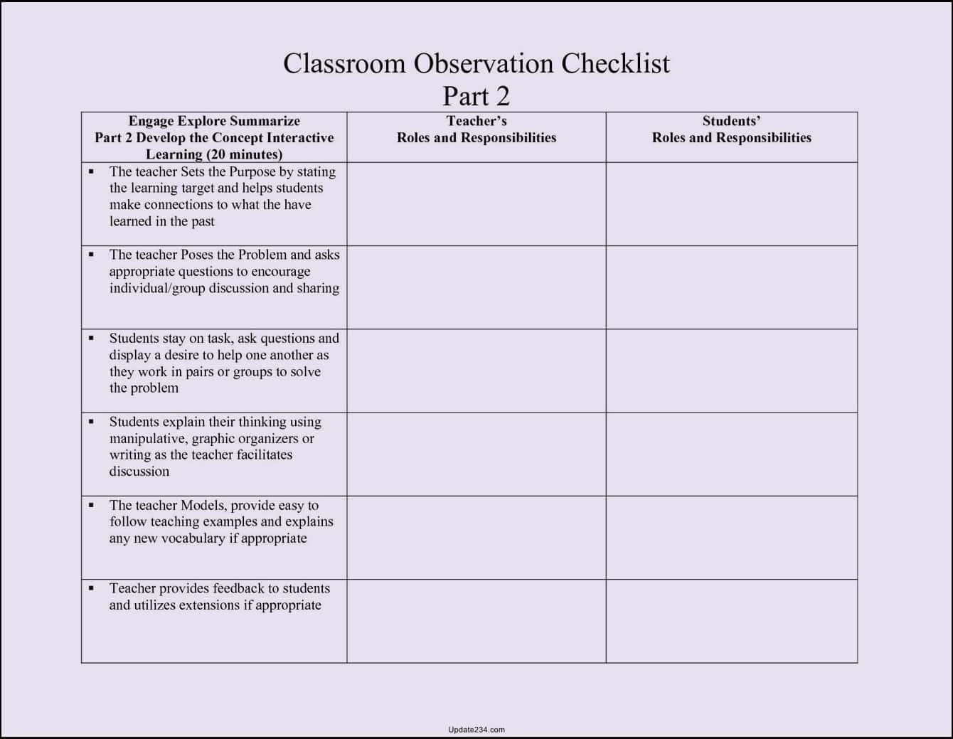 Sample Of Classroom Teacher Observation Report And Sample Report After Classroom Observation