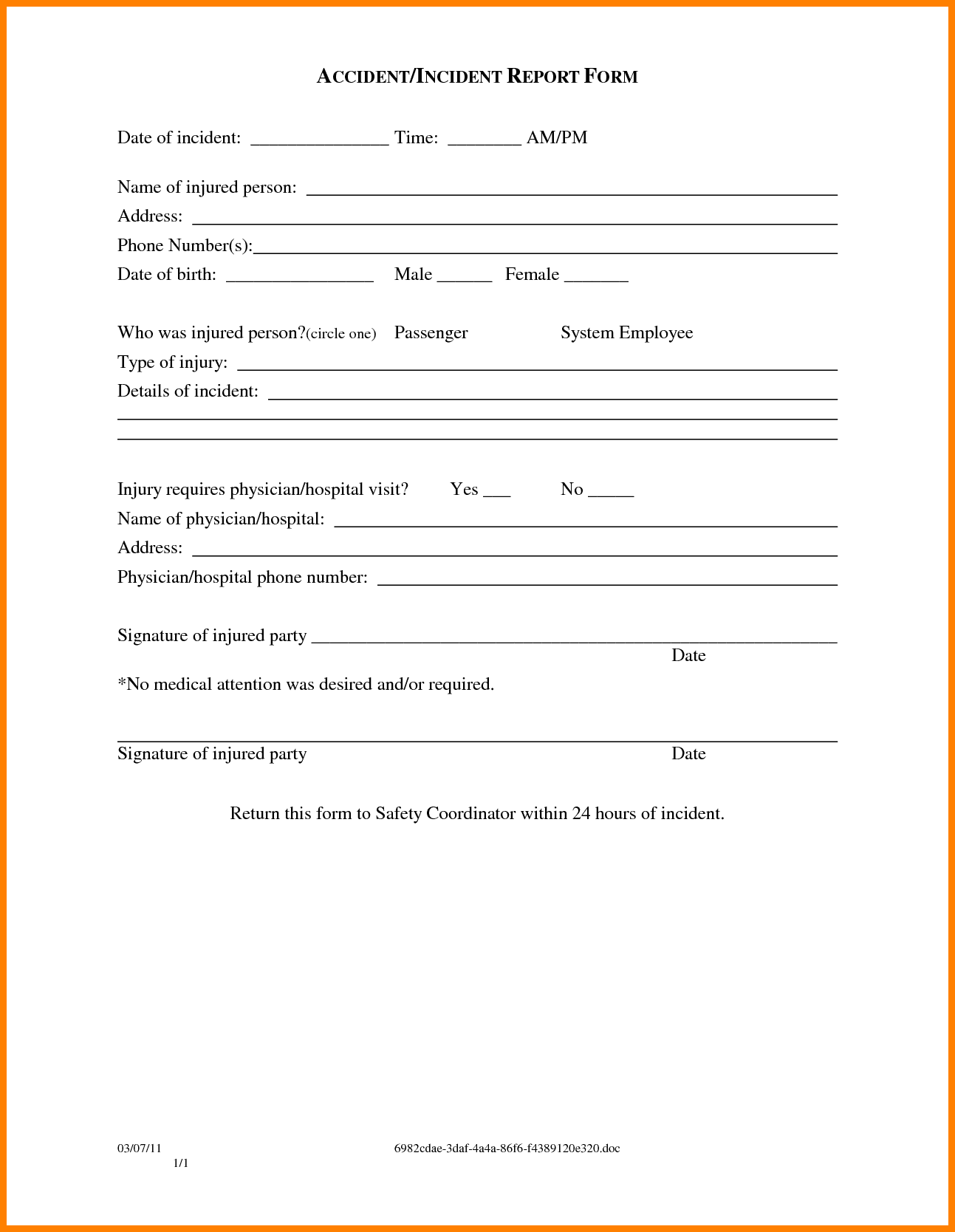 Security Guard Incident Report Pdf And Security Guard Report Sample