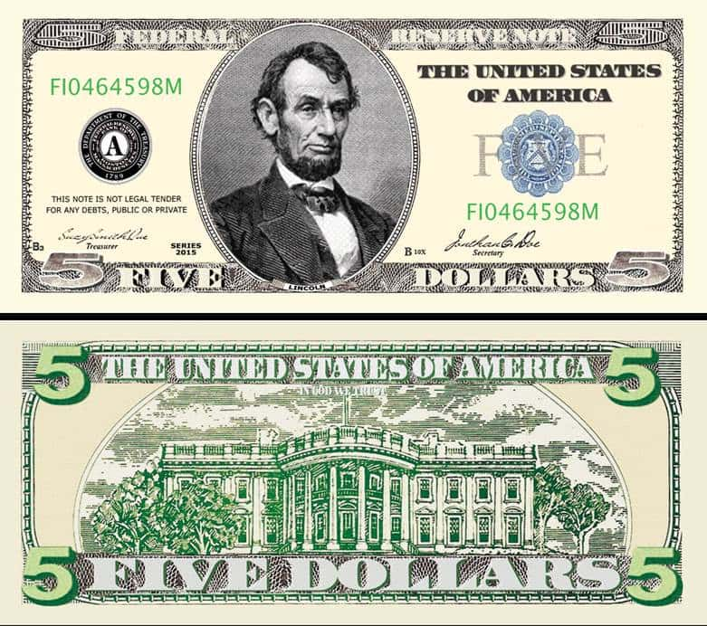 5 Bill Template And Five Dollar Bill