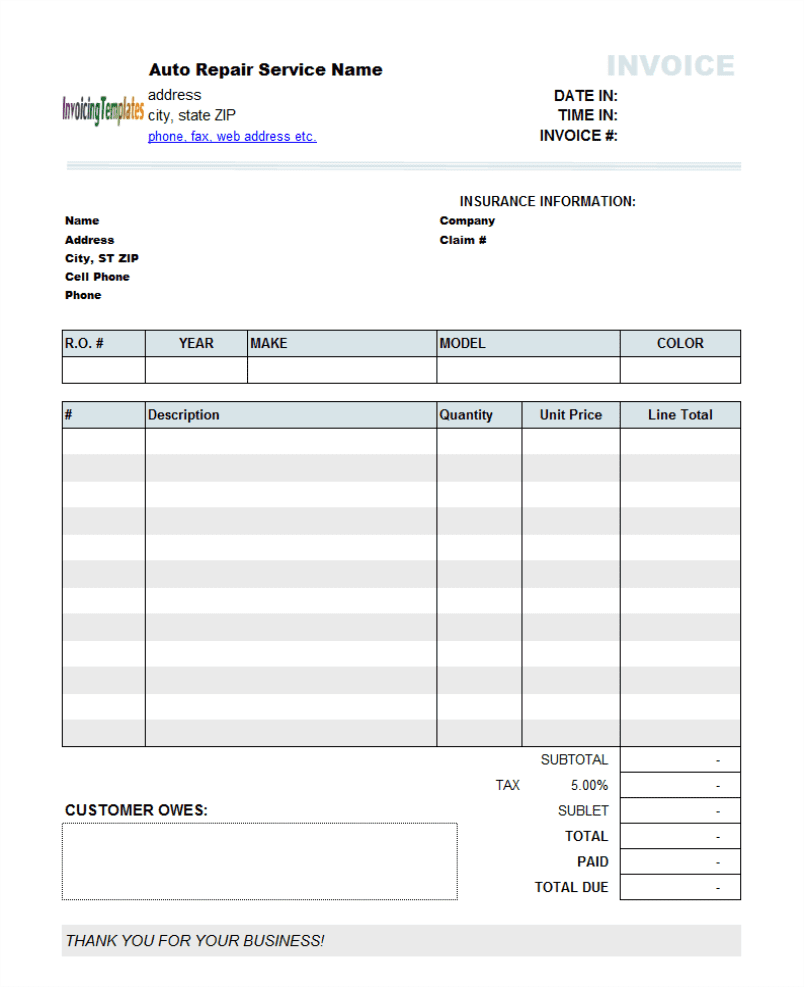 Auto Repair Invoice Template Word And Auto Repair Invoice Template For Mac