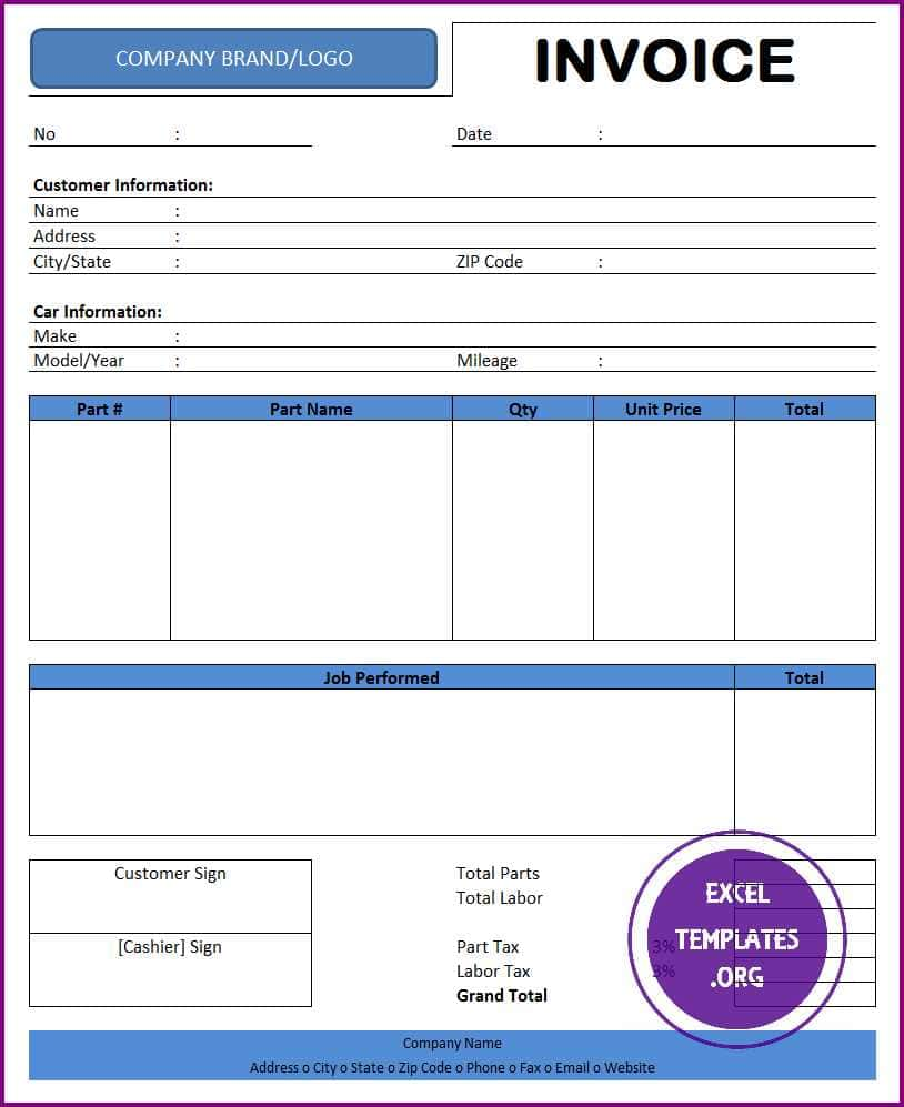 Auto Repair Invoices Template For Free And Car Repair Invoice Template Excel