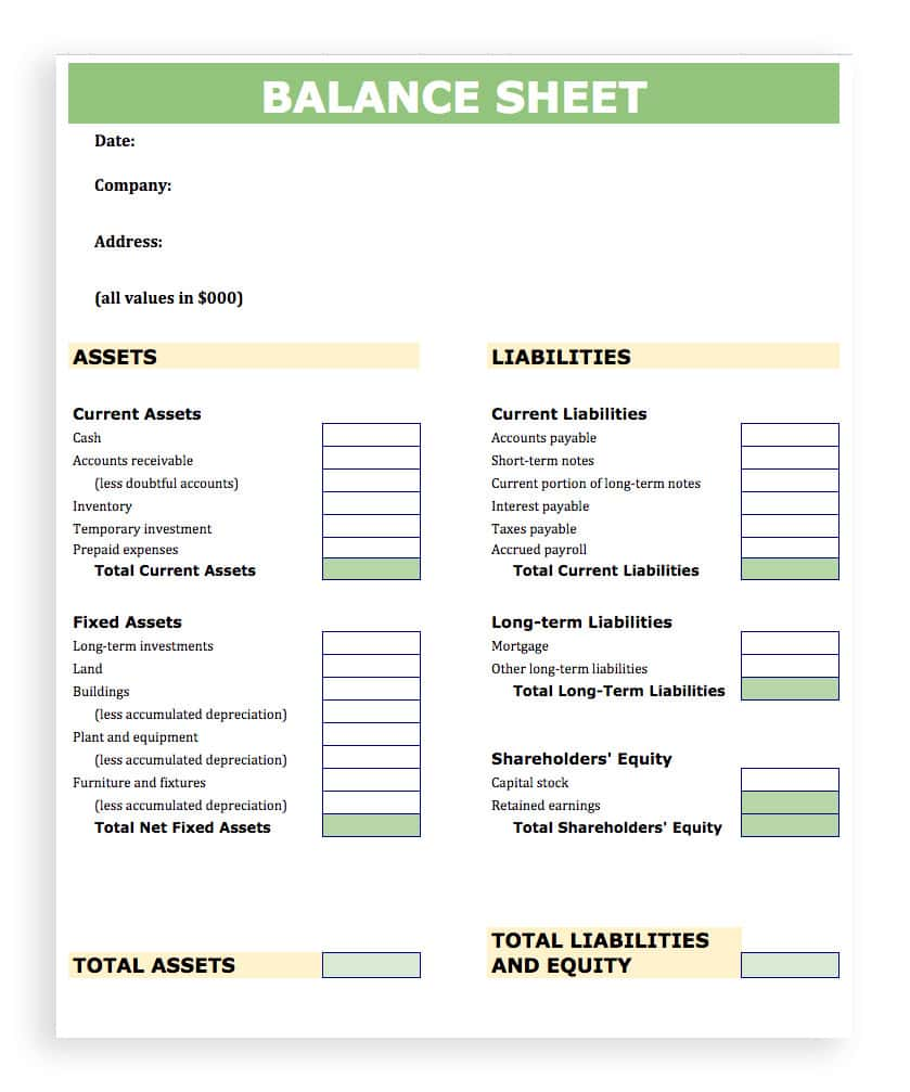 Balance Sheet Reconciliation Template And Balance Sheet Template Quickbooks