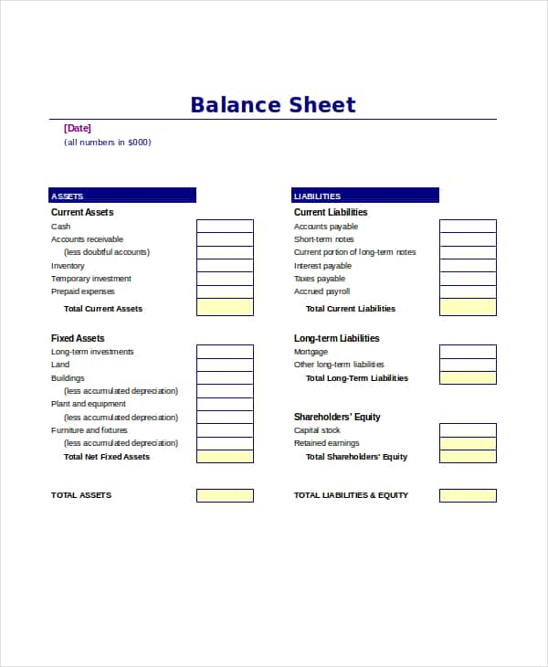 Balance Sheet Template Download And Balance Sheet Template For Property Management