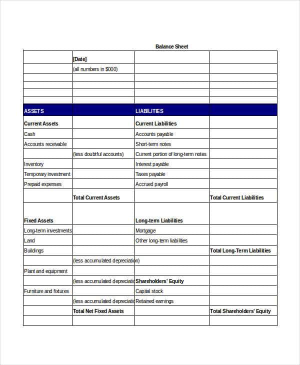 Balance Sheet Template Word And Balance Sheet Template Pdf