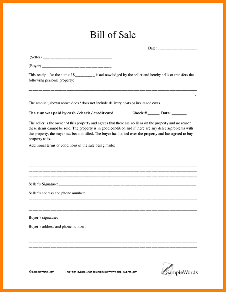 Bill Of Sale Of Equipment Template And Microsoft Word Equipment Bill Of Sale Template