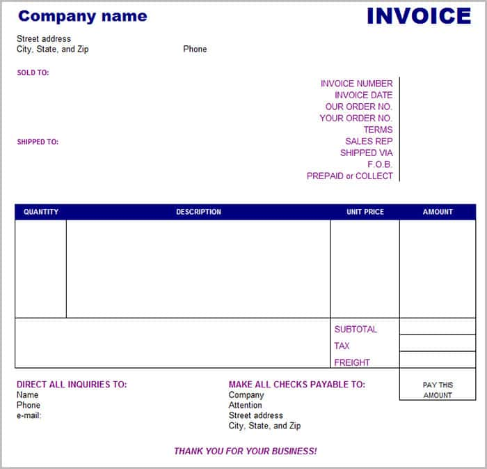 Company Invoice Template Pdf And Invoice Template Excel Simple