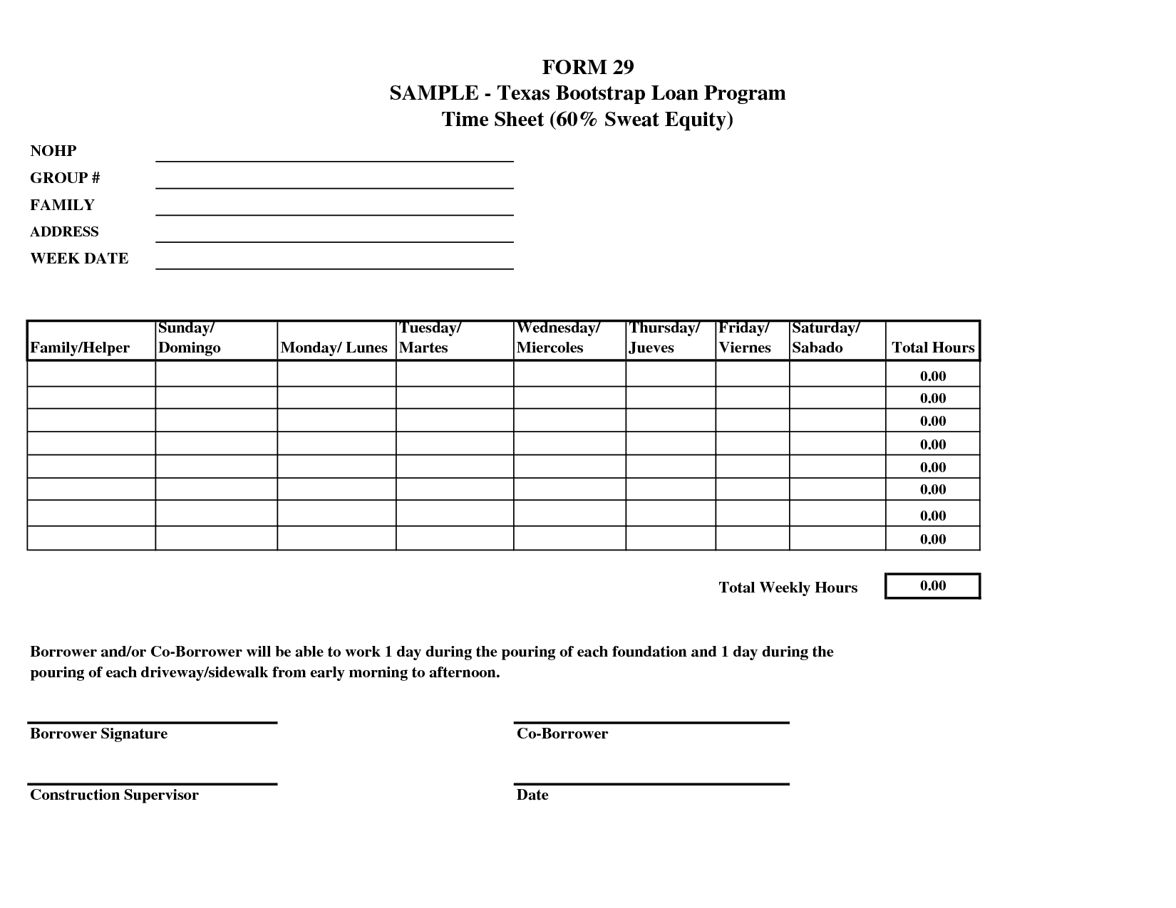 Construction Daily Timesheet Template And Construction Weekly Time Sheets Templates
