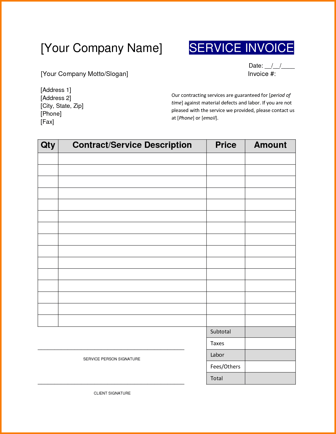 Contractor Invoices Templates And Contractor Receipt Template Free