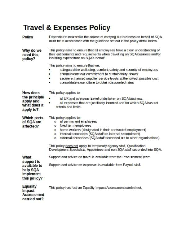 Employee Travel Expense Policy Sample And Travel And Expense Policy Best Practices