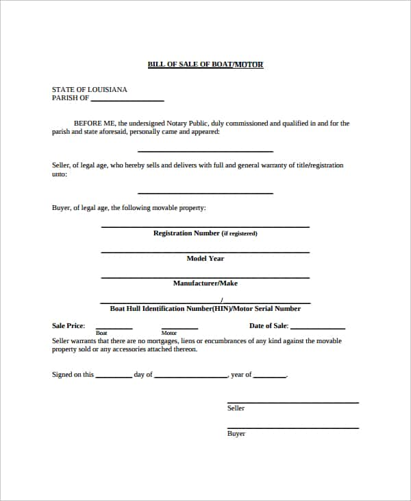 Equipment Bill Of Sale Template And Equipment Bill Of Sale Template Pdf