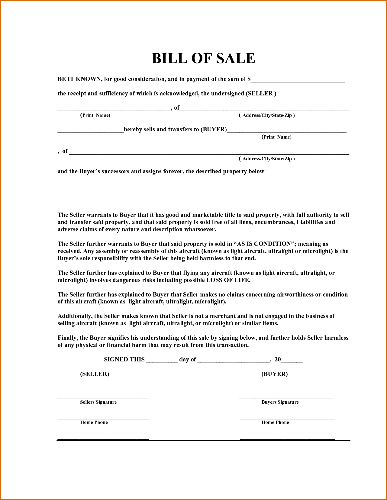 Equipment Bill Of Sale Template Word And Equipment Bill Of Sale Template Utah