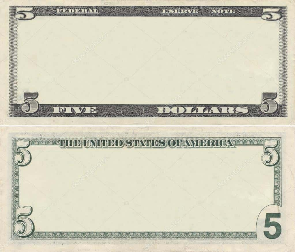 Fake 5 Dollar Bill Template And Five Dollar Bill Pictures Printable