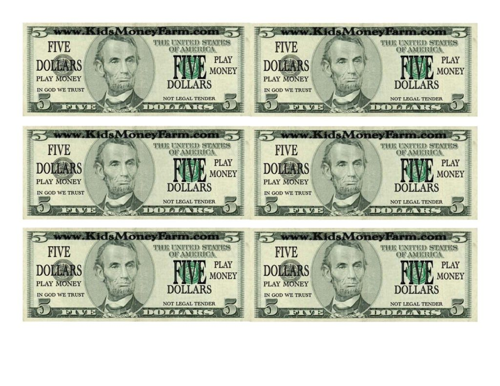 Five Dollar Bill Template And Customizable Fake Money Template