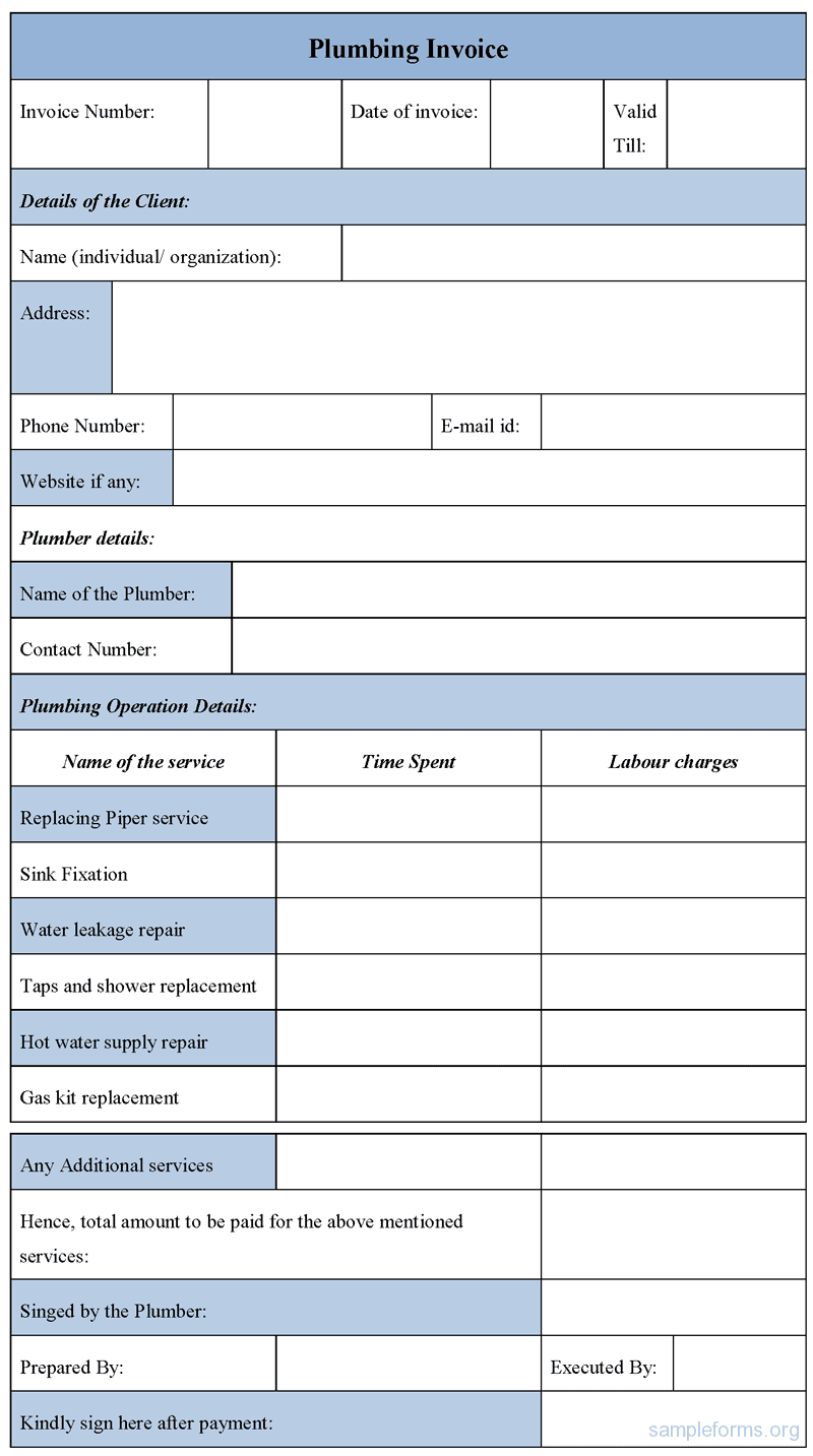 Format Of Service Invoice And Template For Service Invoice In Word Free