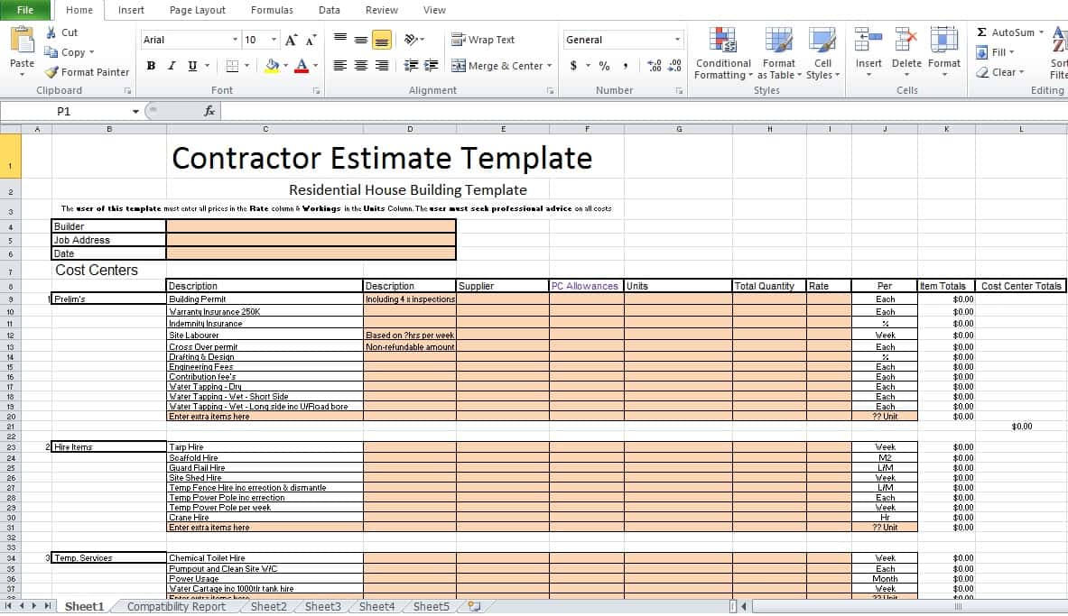 Free Construction Estimate Forms Downloads And Estimate Format In Excel Free Download