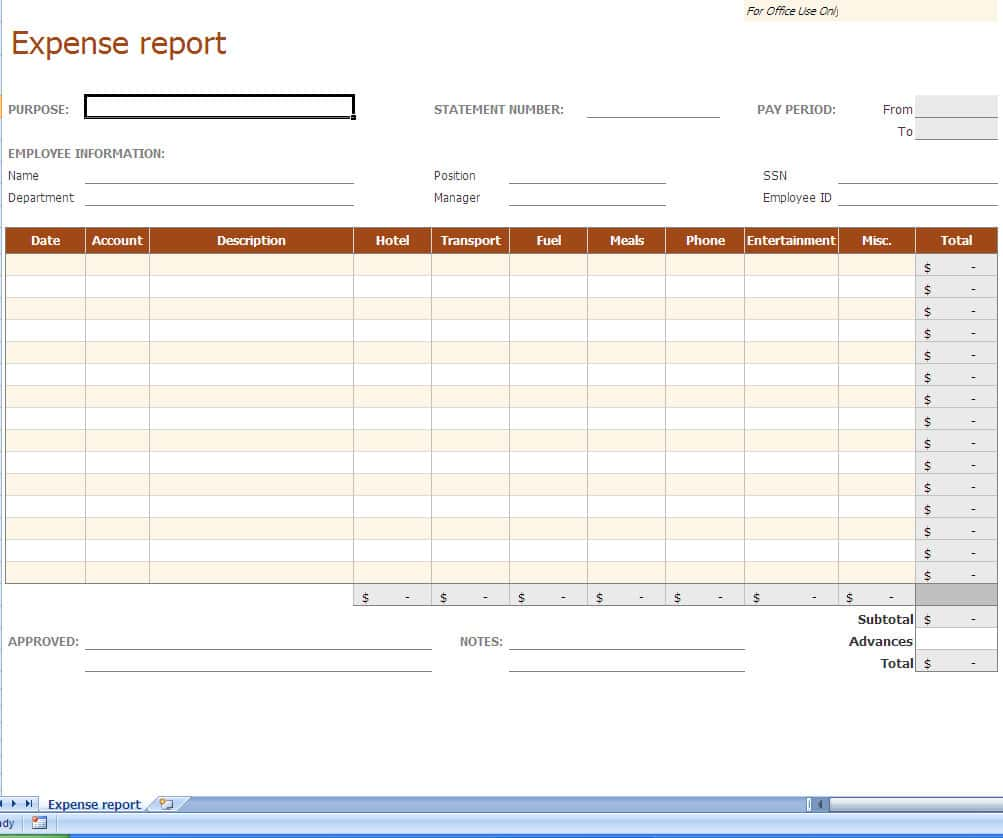 Free Download Expense Report Form And Daily Expense Excel Sheet Format