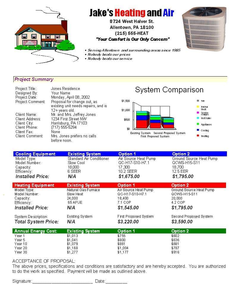 Free HVAC Work Order Template And Plumbing Estimating Excel Spreadsheet