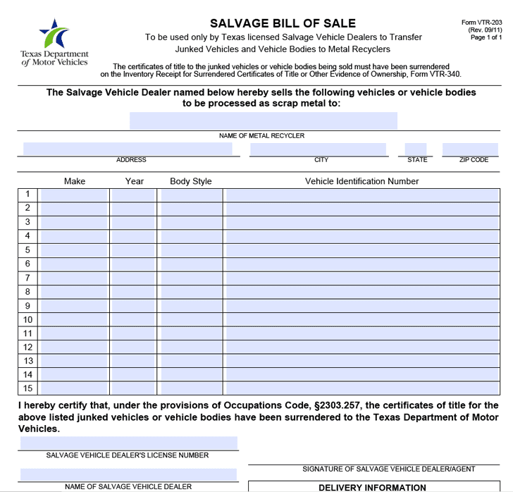 General Bill Of Sale Form And Texas Vehicle Bill Of Sale Form