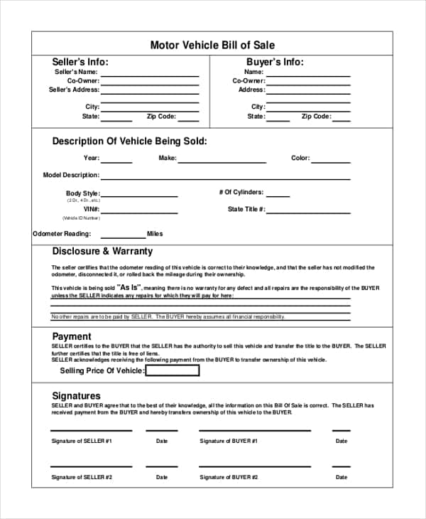 Generic Bill Of Sale Form For Vehicle And Vehicle Bill Of Sale Template California