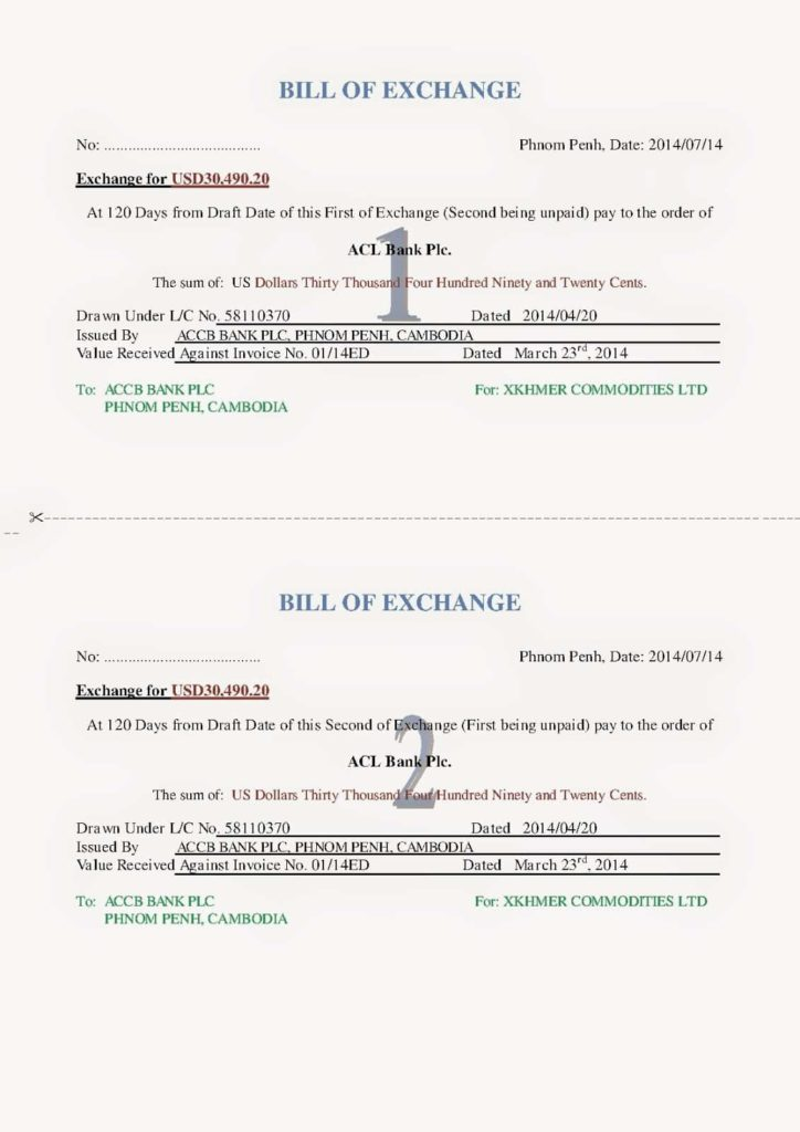 International Bill Of Exchange Template And Bills Of Exchange Format Pdf