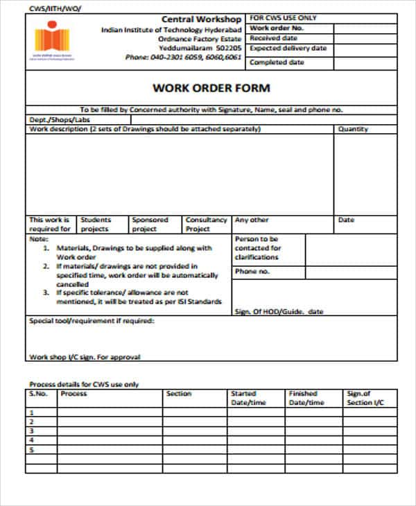 Maintenance Work Order Form Sample And Construction Work Order Template