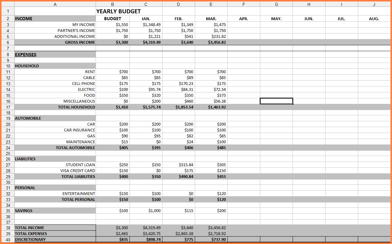 Monthly Budget Spreadsheet Template Free And Monthly Bills Spreadsheet