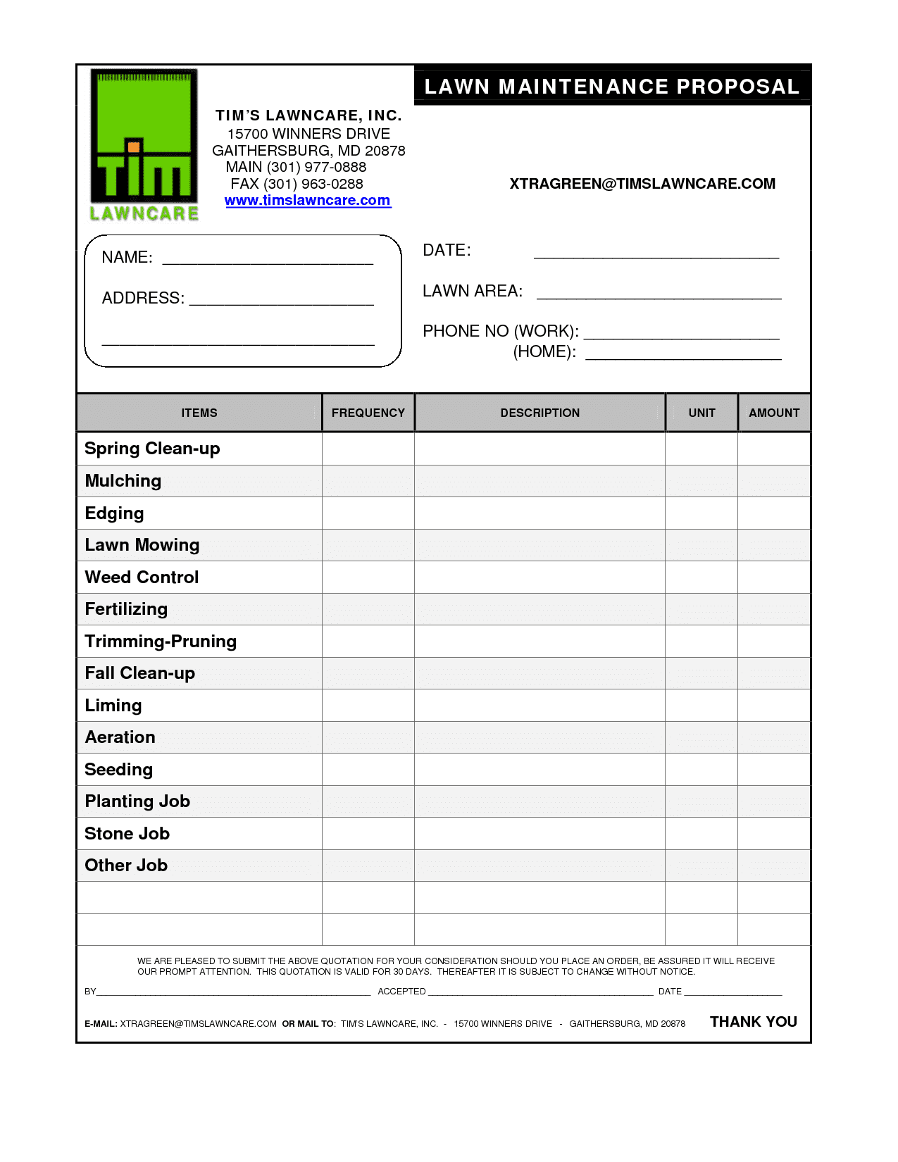 Printable Lawn Care Estimate Forms And Lawn Care Bid Template
