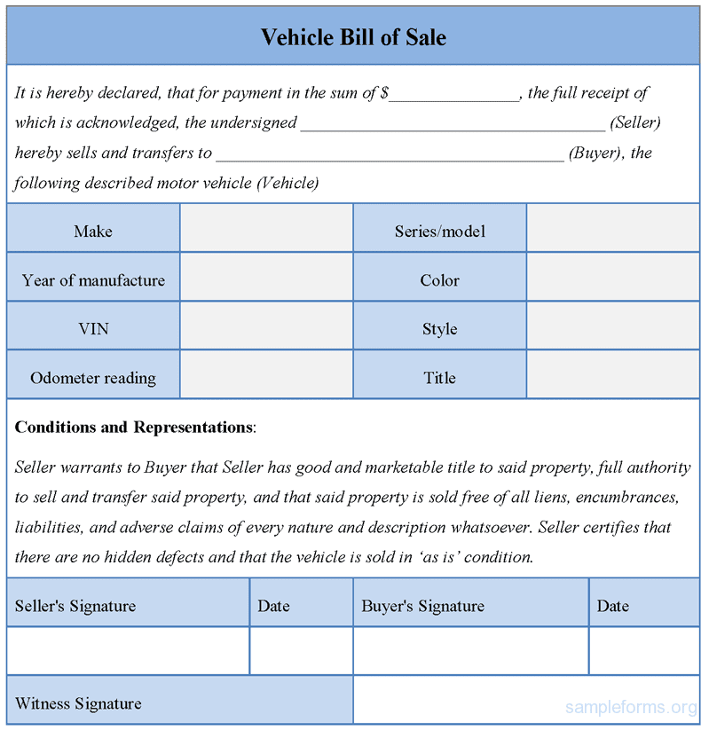Sample Of Bill Of Sale For Used Car With Payments And Sample Bill Of Sale For Used Car In Illinois