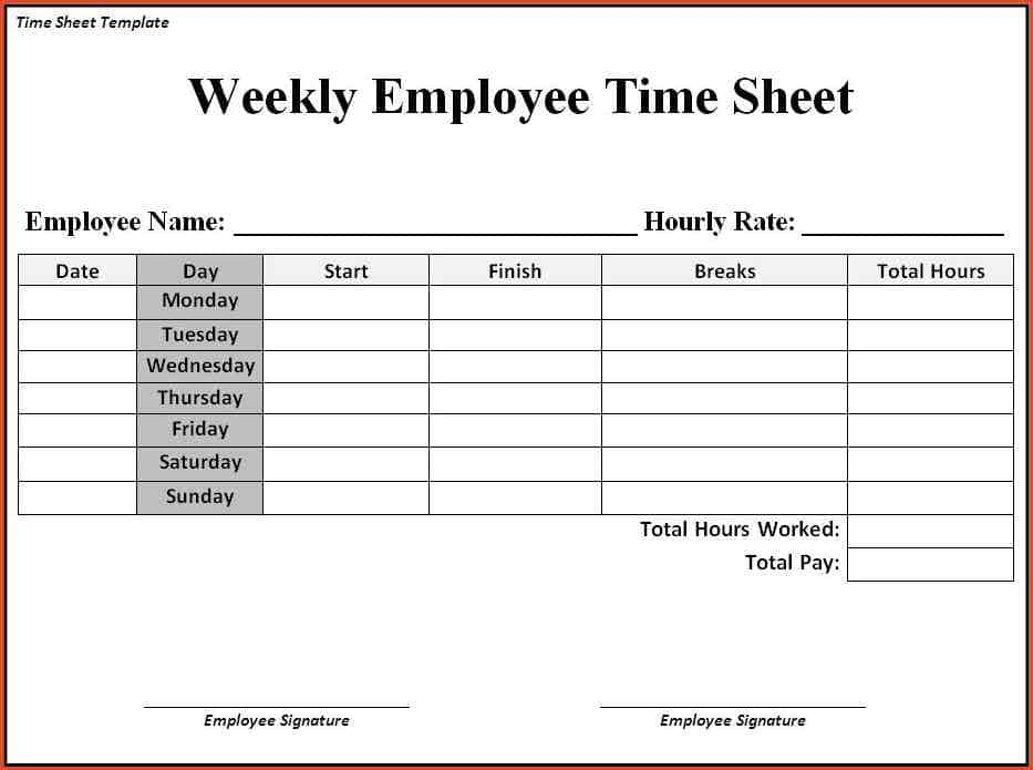 Sample Time Sheets And Sample Payroll Time Sheets
