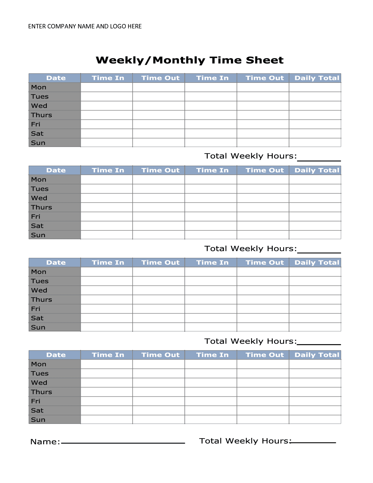 Sample Timesheets For Employees And Sample Time Sheets Excel