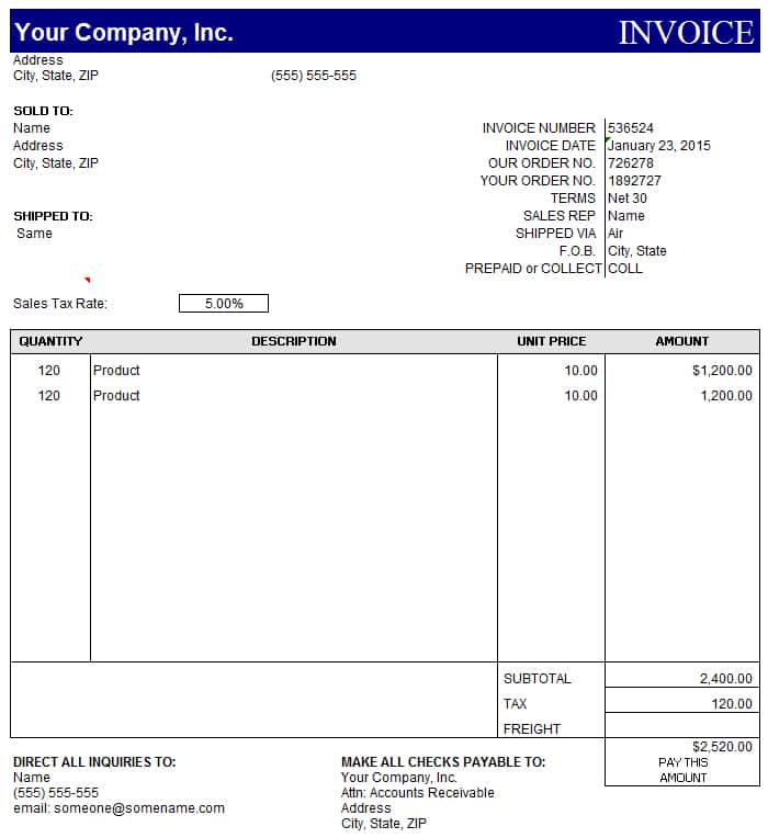 Templates For Invoices Free Excel And Invoice Template Free In Excel