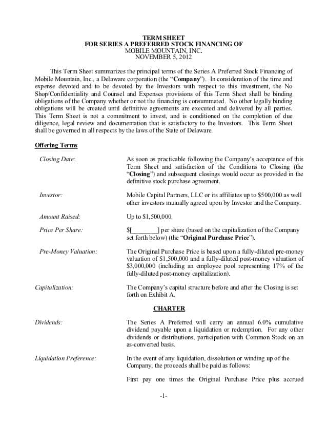Term Sheet Template For Acquisition And Sample Contract Term Sheet