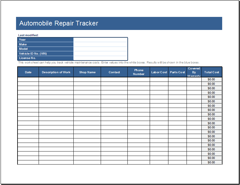 Automotive Repair Order Template Excel And Fake Auto Repair Receipt