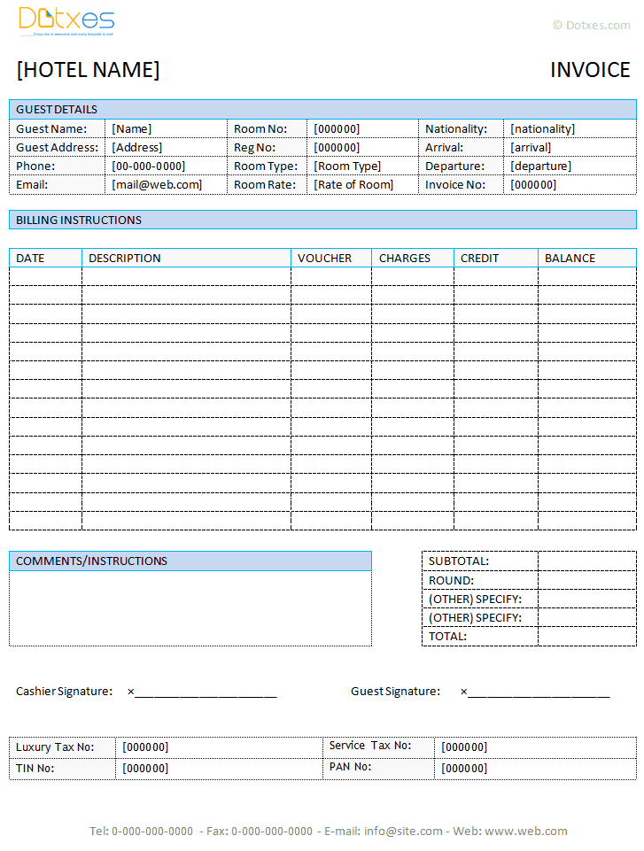Blank Invoice Template And Free Printable Business Invoices