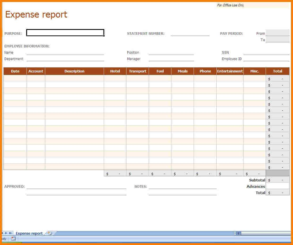 Expense Report Template Excel And Expense Report Template With Hst