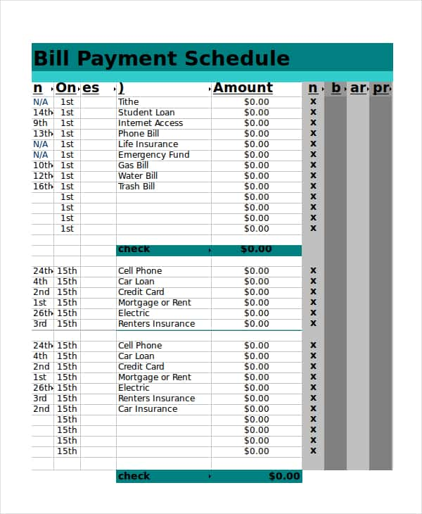 Free Bill Pay Template Excel And Bill Pay Template Organize