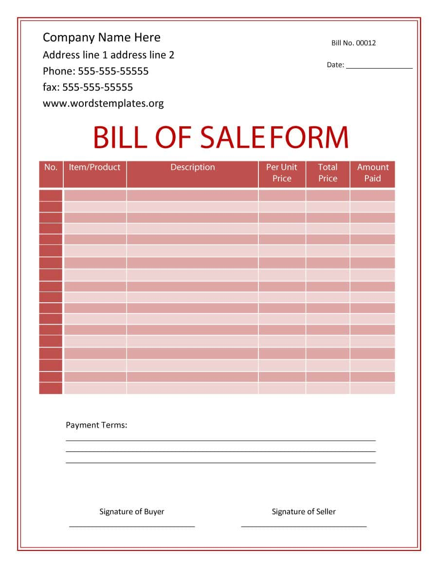 Free Printable Bill Of Sale Template And Bill Of Sale Template Doc