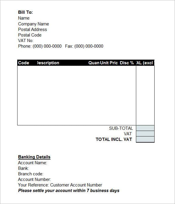 Invoice Template Docx And Generic Invoice Template Excel