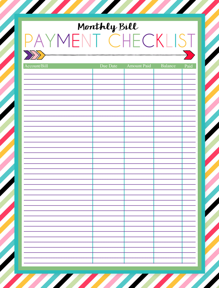 Monthly Bill Organizer Template Free And Excel Monthly Budget Template