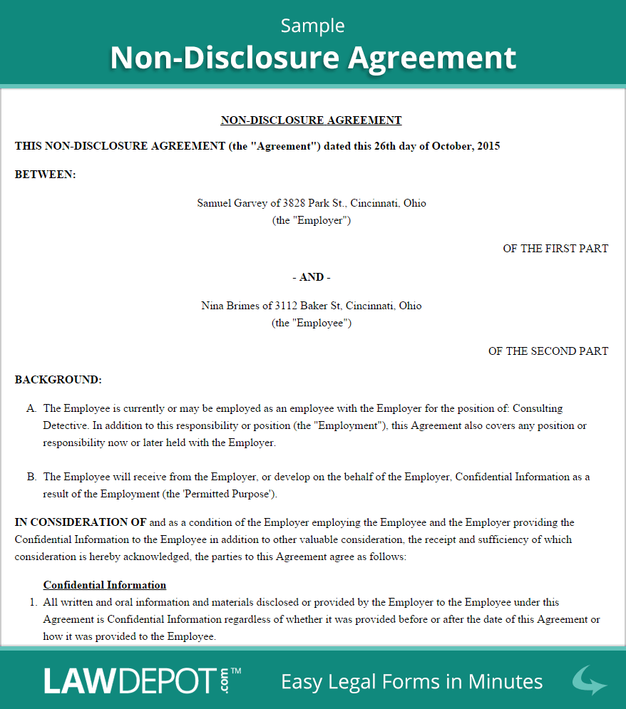 Non Disclosure Agreement Template In Spanish And Non Disclosure Agreement Sample Template