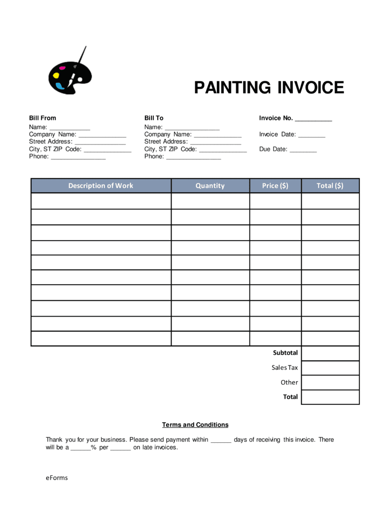 Painting Company Invoice Template And House Painting Invoice Template