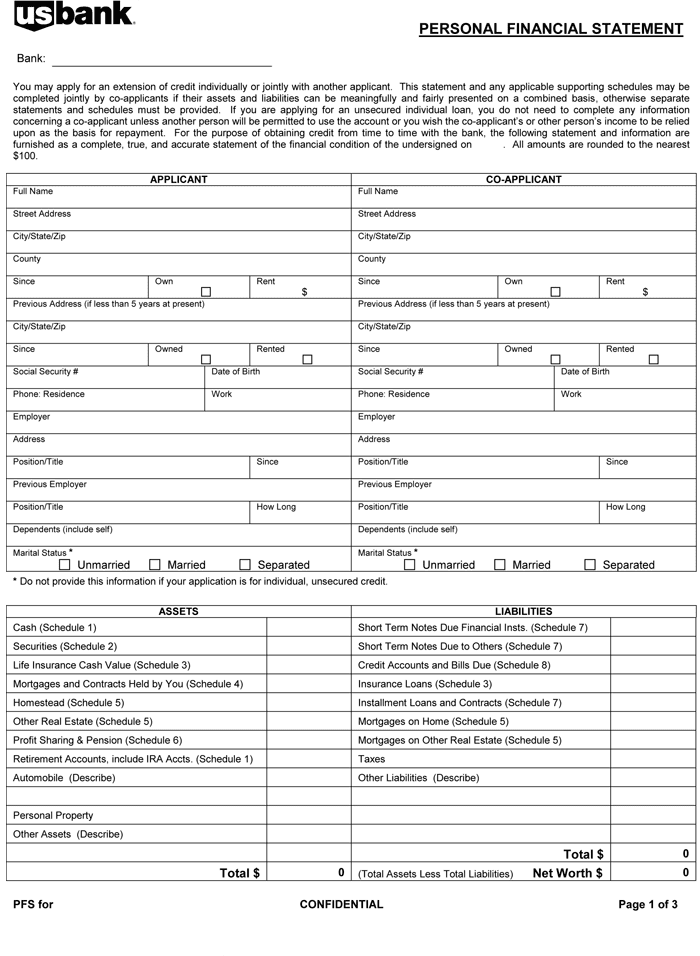 Printable Personal Financial Statement Template And Personal Financial Statement Template Pdf