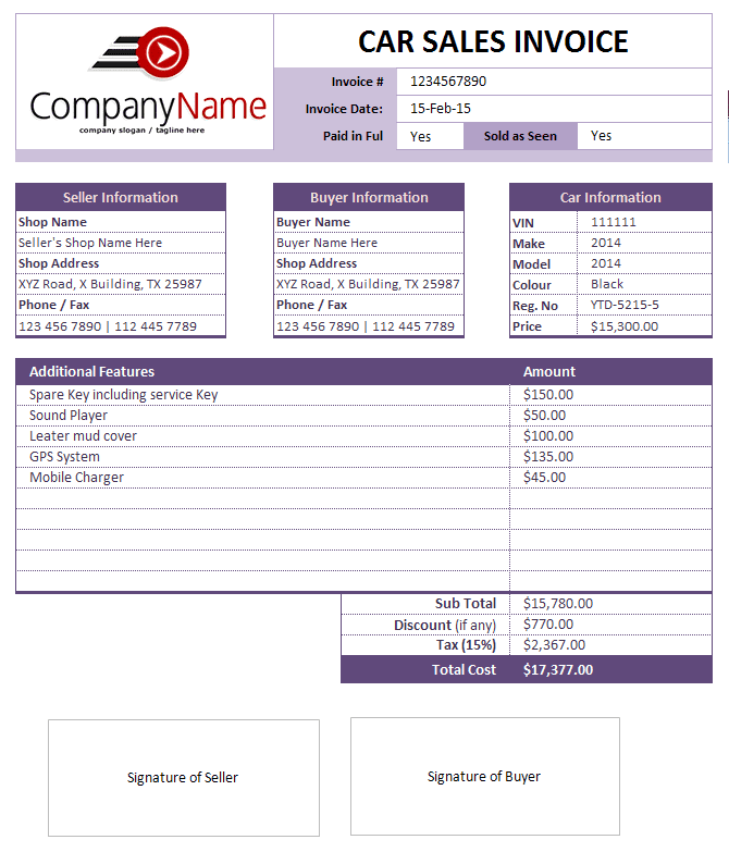 Automotive Invoice Template Excel And Automotive Service Invoice Template Excel