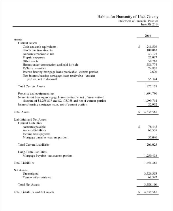Basic Non Profit Financial Statement Example And Statement Of Financial Position Non Profit Template