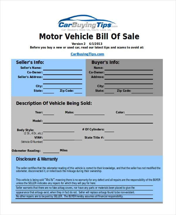 Bill Of Sale Form Vehicle And Sample Bill Of Sale For Car In Ma