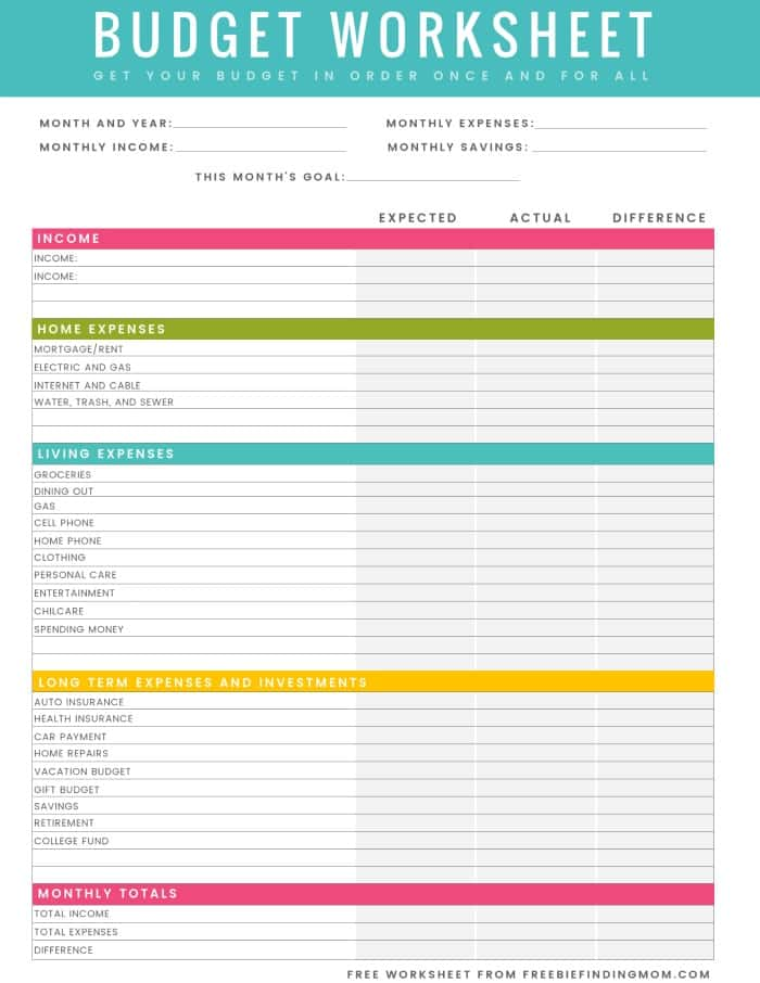 Budget Worksheet Pdf And Printable Yearly Budget Template