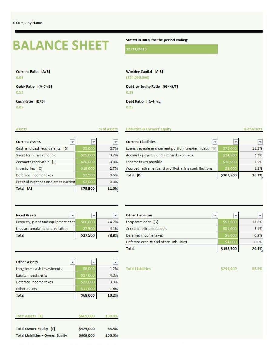 Business Balance Sheet Template Free Download And Income Statement And Balance Sheet Template Download