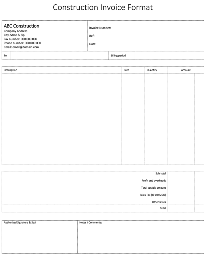 Construction Bill Of Materials Template And Bill Template For Construction